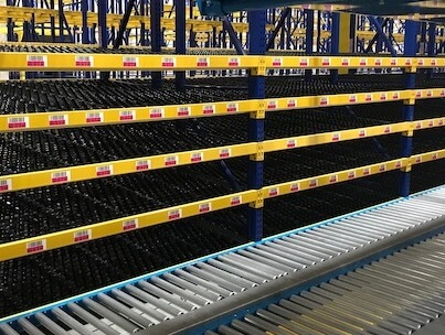 warehouse flow racking and conveyor