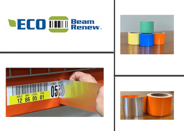 Multiple images of warehouse rack relabeling solution