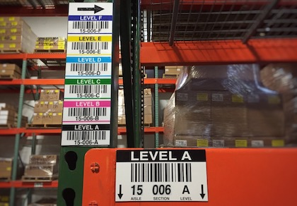 Warehouse magnet rack and totem labels