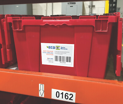 Easy-Release Warehouse Tote Label