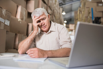 Worried warehouse manager