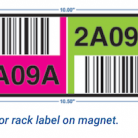 10 x 3 two-color rack label on magnet