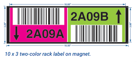 Two-color warehouse rack label on magnet