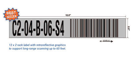 warehouse rack label with retroreflective material for long-range scanning