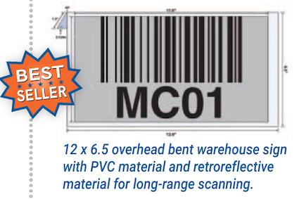 Overhead warehouse location sign with retroreflective material