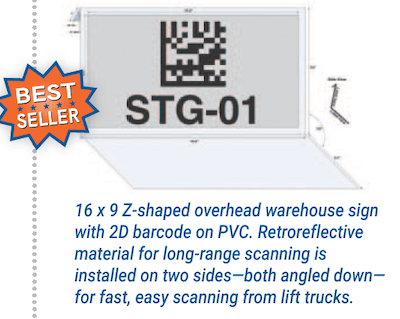 Two-sided Z-shaped overhead hanging warehouse location sign
