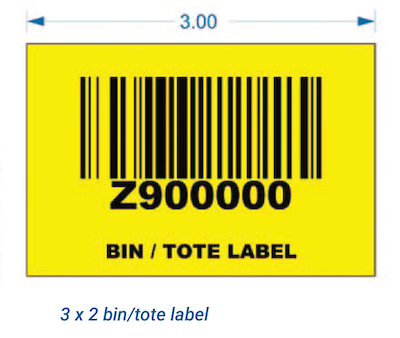 Yellow warehouse tote/bin label