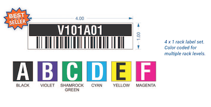 color coded warehouse rack label set