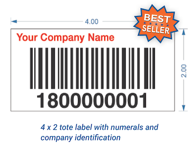 Warehouse tote label with custom branding