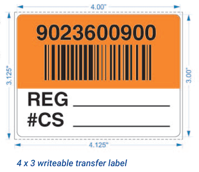 Writeable warehouse LPN barcode label