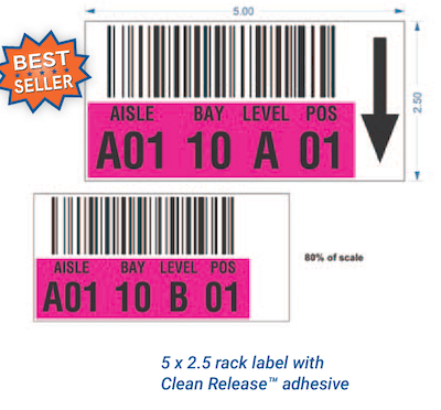 Repositionable warehouse rack labels