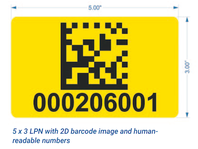 yellow warehouse LPN label with 2D barcode