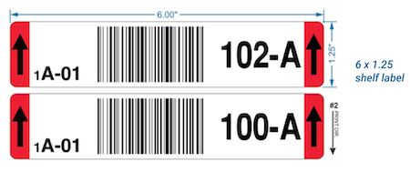 warehouse shelf label with barcodes, numerals and arrows