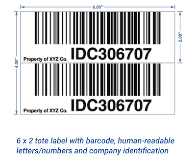 warehouse tote barcode labels