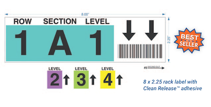 Warehouse rack labels with repositionable adhesive
