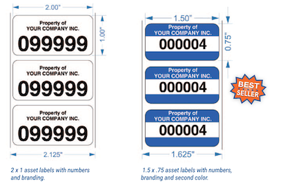 Asset tracking labels with company branding