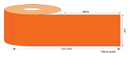 Orange roll of Eco Beam Renew warehouse label cover up
