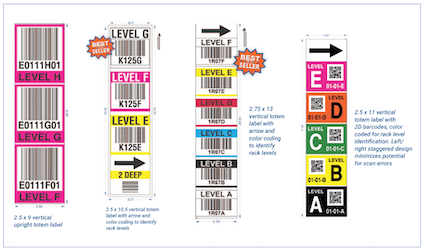 examples of vertical totem warehouse labels