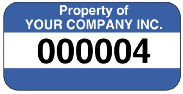fixed asset label with numbers