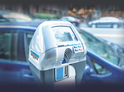 parking meter with asset barcode tag