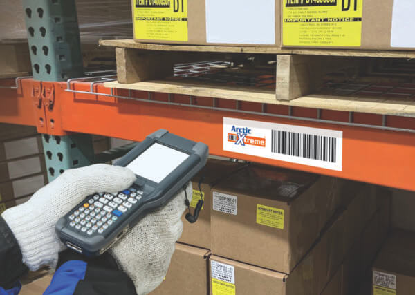 warehouse freezer barcode label being scanned